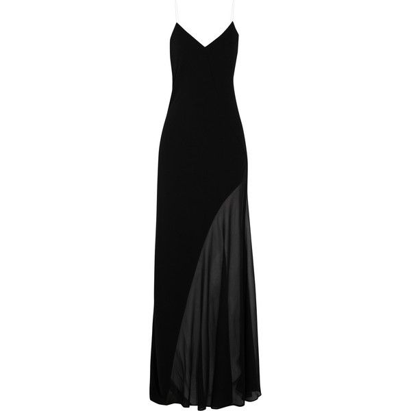 DKNY Stretch silk georgette-paneled crepe maxi dress ($280) ❤ liked on Polyvore featuring dresses, gowns, long dresses, vestidos, maxi dress, black, black sheer dress, black maxi dress, long black dress and petite dresses