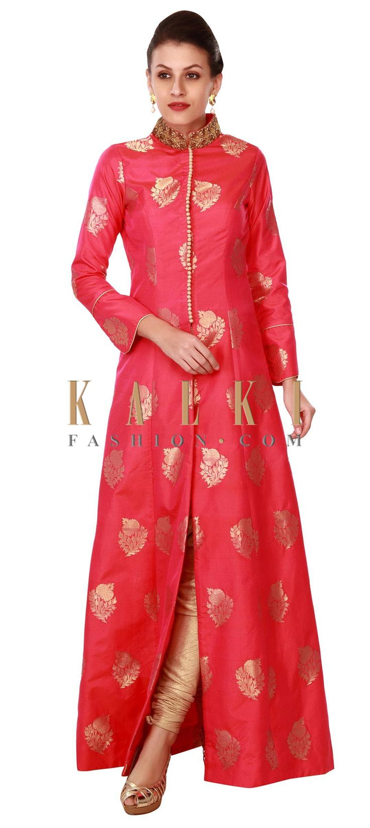 Buy this Pink A line suit with embroidered collar only on Kalki