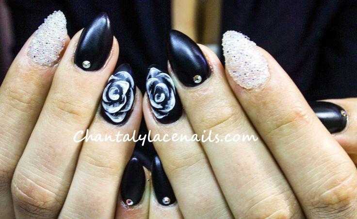 Swarovski pixie crystals/ almond nails/black nails/white rose