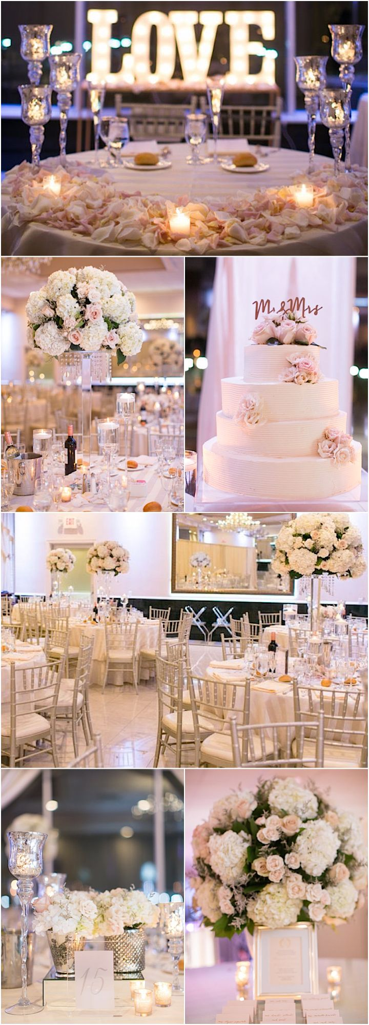 Featured Photographer: Amy Rizzuto; pink and white wedding reception