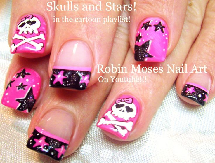 Nail Art Tutorial | DIY Stars and Skull Nails!| Neon Pink Black and Whit...