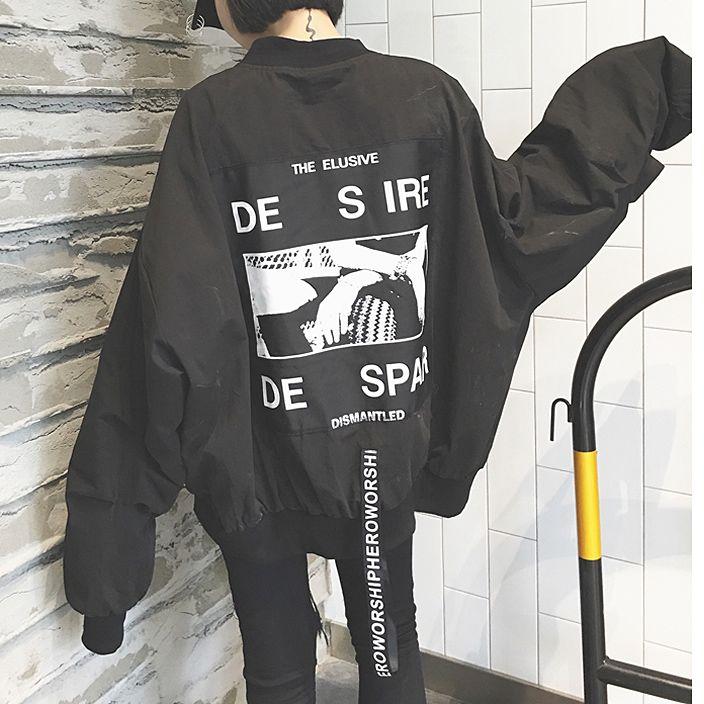 ジャケット - 原宿系 個性的後ろにロゴプリントOVERSIZE ジャケットアウター