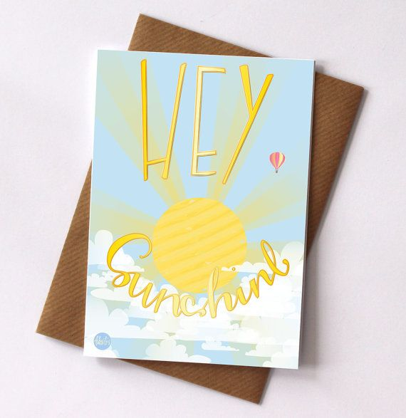 Hey Sunshine Blank Greetings Card by FelicityMildred on Etsy, £2.50