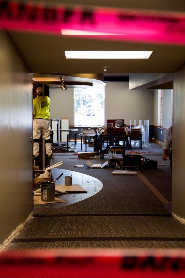 """August 7, 2012: """"A Work in Progress."""" Construction continues in the new, 24-hour study space within Cowles Library.Cowls Libraries, Study Spaces, 24 Hour Study, Construction Continuous"""