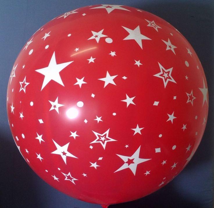 PALLONCINO STELLE MONGOLFIERA ROSSA 80 cm. Diam.  FESTA PARTY