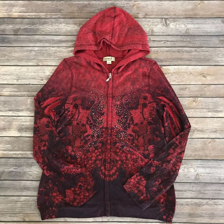 One World Womens Red Beaded Hooded Zip Up Long Sleeve Top Shirt S #OneWorld #KnitTop