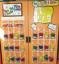 "LOVE THIS!! Not only will it fit into my tiny classroom, but it is Kindergarten appropriate. Instead of writing out what the child did to fill a bucket, he or she just adds a pom-pom. We can work our way up to writing, but this is a way to start ""Bucket Filling"" at the beginning of the year with my little ones. I am so excited! :)"