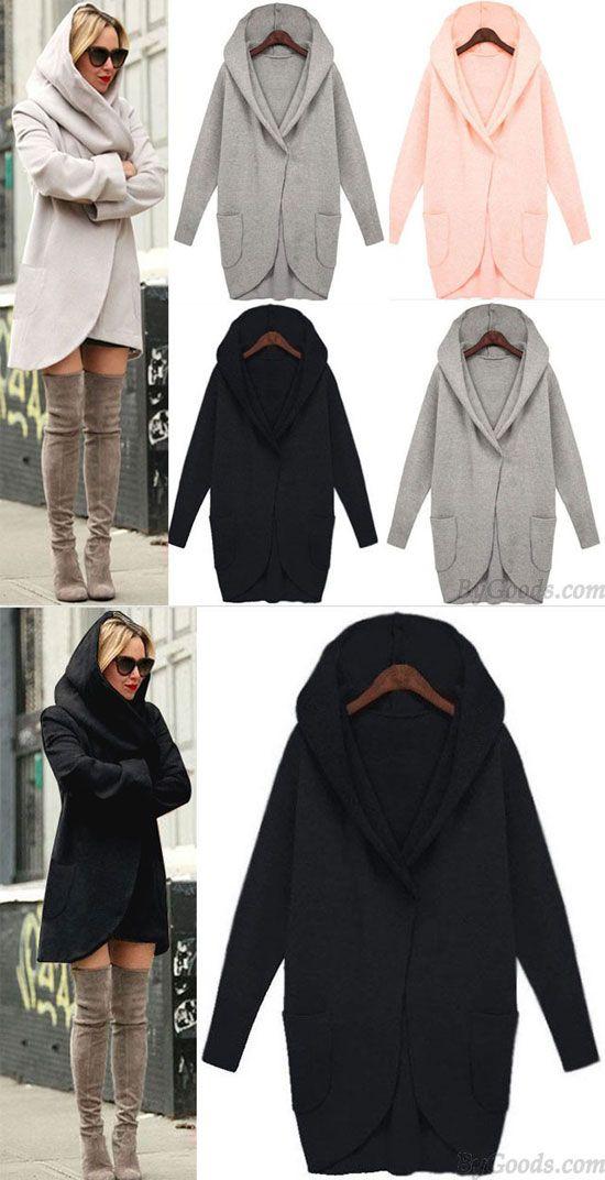 Pure Solid Color Jacket Pocket Long-sleeved Loose Wool Jacket Coat for big sale ! #Pocket #jacket #coat