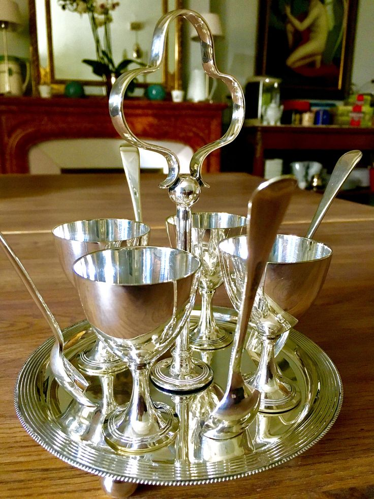 Antique silver egg cups we used for serving breakfast