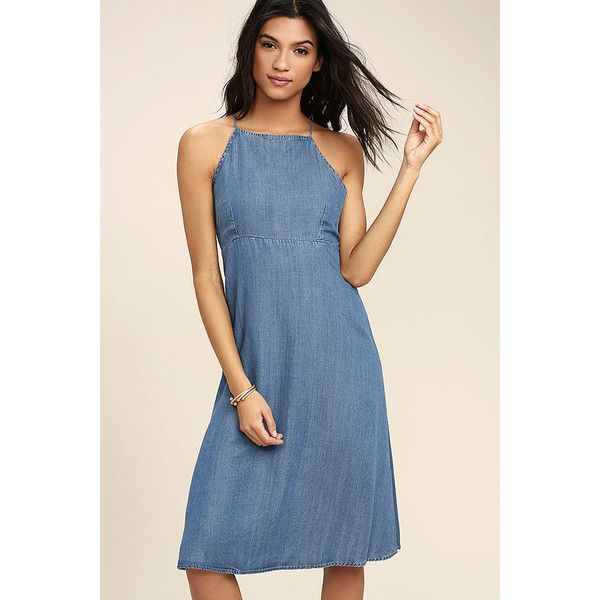 Monterey Bay Blue Chambray Midi Dress ($54) ❤ liked on Polyvore featuring dresses, flared dresses, mid calf dresses, tie dress, open back dresses and flare dresses