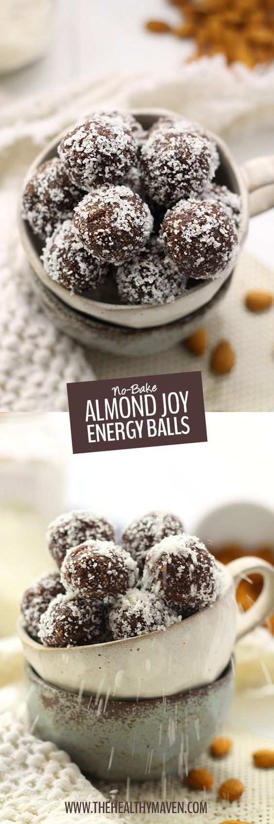 These No-Bake Almond Joy Energy Balls are inspired by the ever popular Almond Joy chocolate bar but without all the gunk! They pack a serious nutrition punch and are also gluten-free vegan AND paleo.