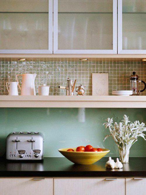 Küchenrückwand aus glas glanzvoll farben leuchtend fliesen