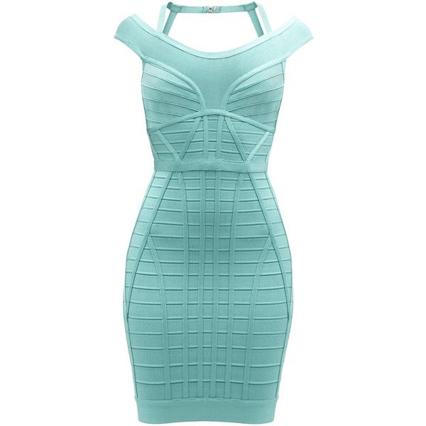 Herve Leger Connie Novelty Essentials Bandage Dress ($516) ❤ liked on Polyvore featuring dresses, strappy dress, green dress, strap dress, green sleeveless dress and halter dress