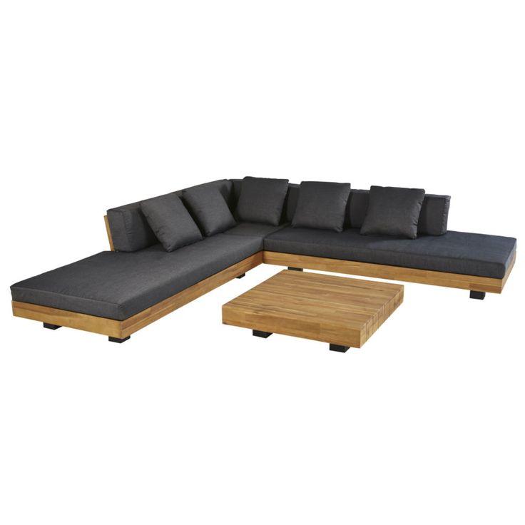 4 6 Sitzer Gartenmobel Aus Massivem Akazienholz Und Anthrazitgrauem Segeltuch Maisons Du Monde Sofa Design Gartenmobel Design Gartenmobel