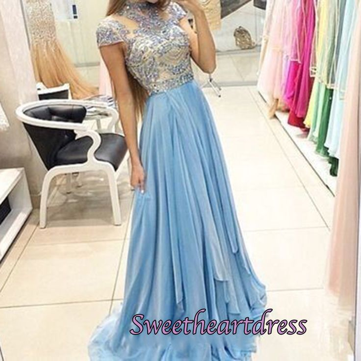 Elegant short sleeved blue chiffon long modest prom dress with beautiful top details, high neck evening dress for prom 2016 #coniefox