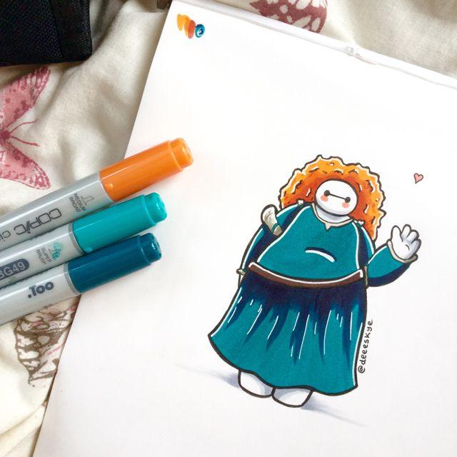 Baymax drawn as Merida. So cute!