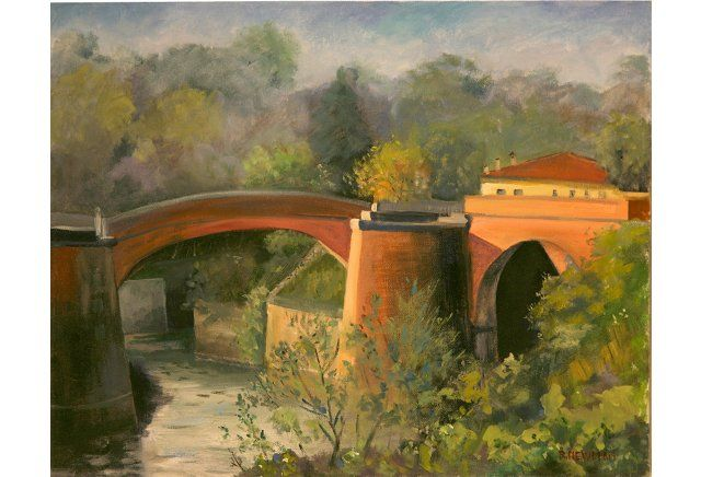 Bridge and Landscape, Arno River Italy