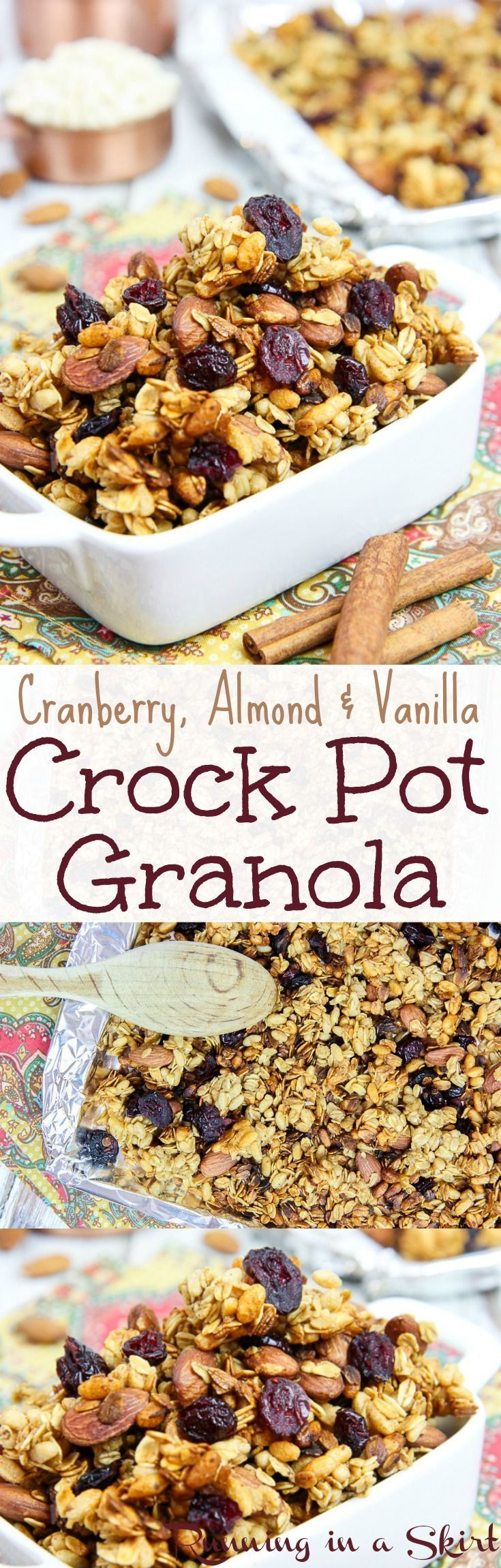 Healthy Cranberry, Almond & Vanilla Crock Pot Granola. Naturally sweetened with honey! Clean eating, simple and easy! A low calorie way to start your morning. Wake up to a sweet smelling treat in the slow cooker! / Running in a Skirt