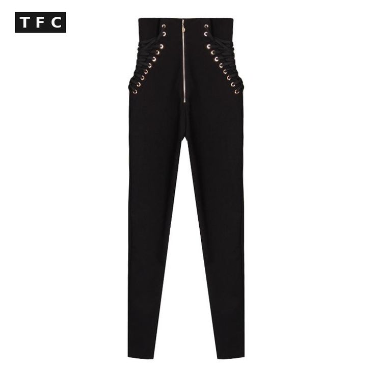 Bandage High Waist Pants Casual Black Skinny Pencil Pants Women Hole Piercing Female Trousers-in Pants & Capris from Women's Clothing & Accessories on Aliexpress.com | Alibaba Group