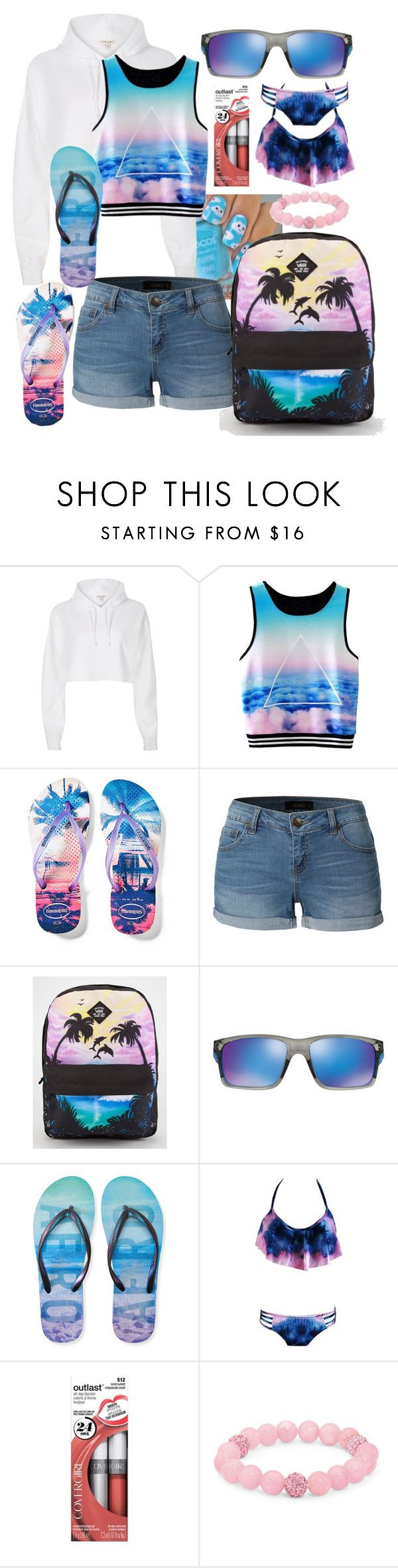 """""""Summer Is Here"""" by thea-bleasdille ❤ liked on Polyvore featuring River Island, Havaianas, LE3NO, Vans, Oakley, Aéropostale, Palm Beach Jewelry and beachparty"""