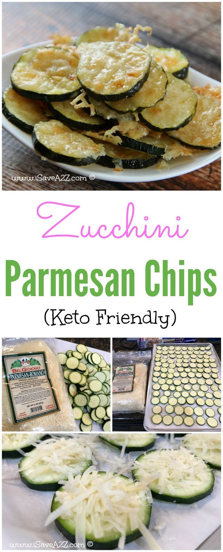 Keto Parmesan Crusted Zucchini Chips! This low carb friendly snack tastes delicious and it's ready in no time.