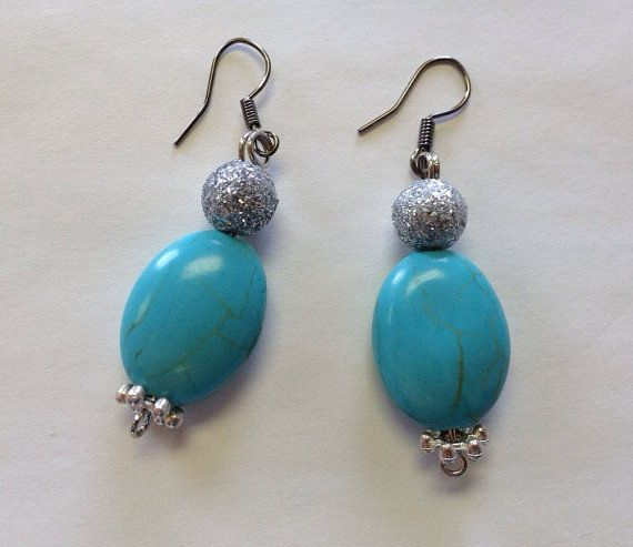 Turquoise Bling Earrings Silver Teal Jewelry by StarBoundWestern