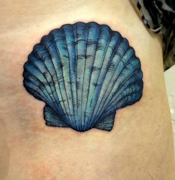 Turquoise Seashell Tattoo by Katy Hayward