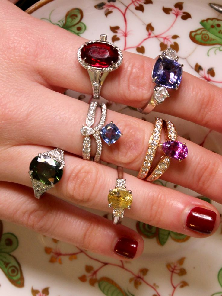 These are all sapphire engagement rings. This versatile gemstone comes in all colours including green, yellow, pink, blue, red, brown and purple. Featured on vintage china. Who's ready for a colourful proposal. http://www.thejewelleryeditor.com/bridal/article/sapphire-engagement-rings-number-one-coloured-gem/ #wedding