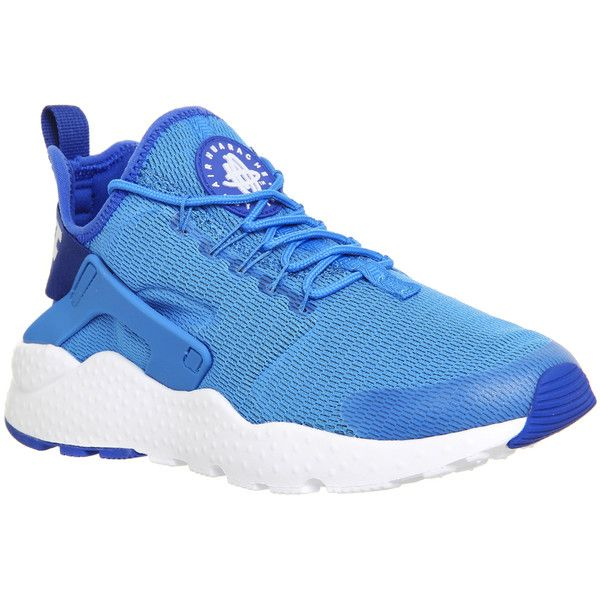 Nike Air Huarache Run Ultra ($83) ❤ liked on Polyvore featuring shoes, athletic shoes, hers trainers, photo blue white, trainers, rubber shoes, blue and white shoes, flexible shoes, nike footwear and nike