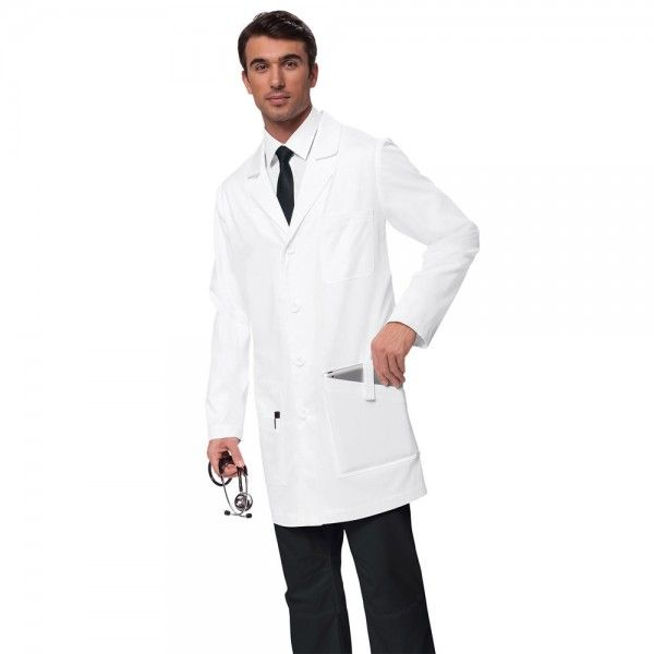 """Koi Jack White Lab Coat. The koi Jack White Lab Coat for men is a classic white lab coat featuring Koi's stylish fit and details. It has a 6 buttons on the front, and six total pockets, including one iPad-sized pocket with a Velcro strap. This white lab coat also has a breast pocket, inset back belt and back vent. This white lab coat is made from 55% cotton and 45% polyester heavy twill. A small size has an average length of 38"""". £27.99   #labcoat"""