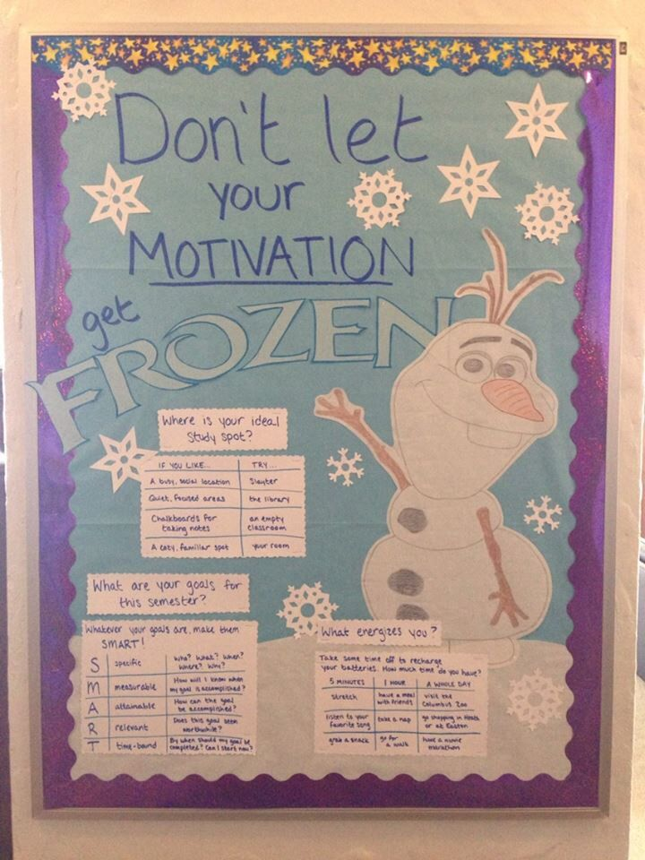 Frozen bulletin board on motivation for a new semester! #reslife