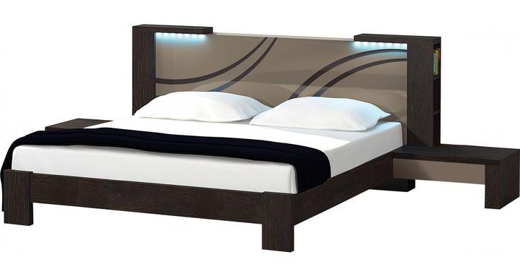 Lit design 140x190 chêne chocolat laque taupe prix Soldes Lit Destock Meubles 1 289,00 €
