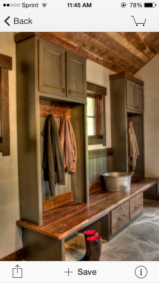Cabinet storage for mudroom.