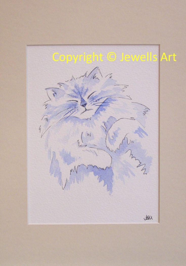 Blue Cat Original Painting by Julia Underwood