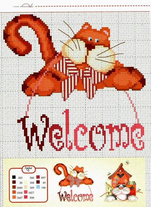 Welcome Cat Cross Stitch Pattern