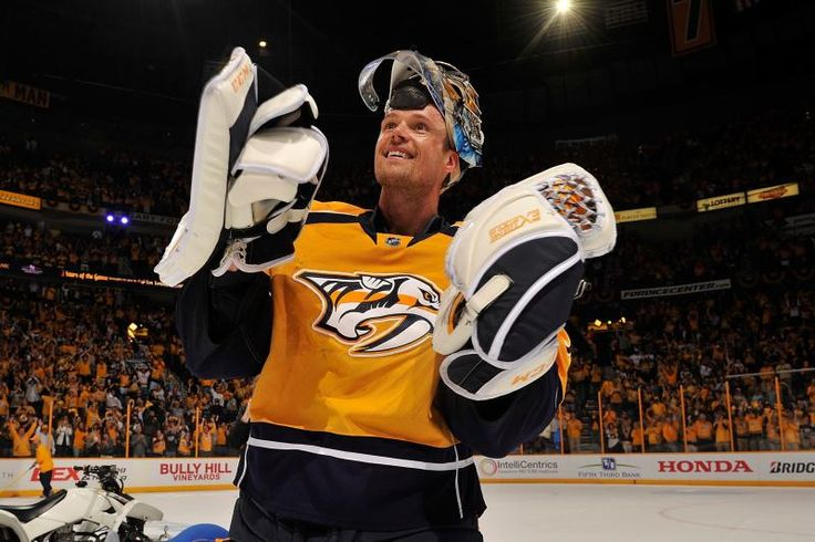 NHL Playoff Schedule 2017: Game Listings and Predictions for Conference Finals  -  May 12, 2017:        NASHVILLE, TN - APRIL 20:  Goalie Pekka Rinne #35 of the Nashville Predators skates onto the ice as the first star of the game after a 4-1 victory in Game Four of the Western Conference First Round against the Chicago Blackhawks during the 2017 NHL Stanley Cup Playoffs at Bridgestone Arena on April 20, 2017 in Nashville, Tennessee.  (Photo by Frederick Breedon/Getty Images)