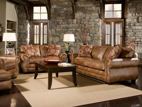 Distressed Leather Sofa Sets. Rustic Living Room ... Part 15