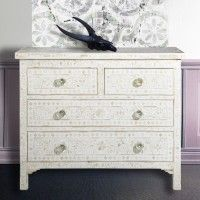 Cream chest of drawers with carvings and flower mosaics - from MOLLYSHOME.COM