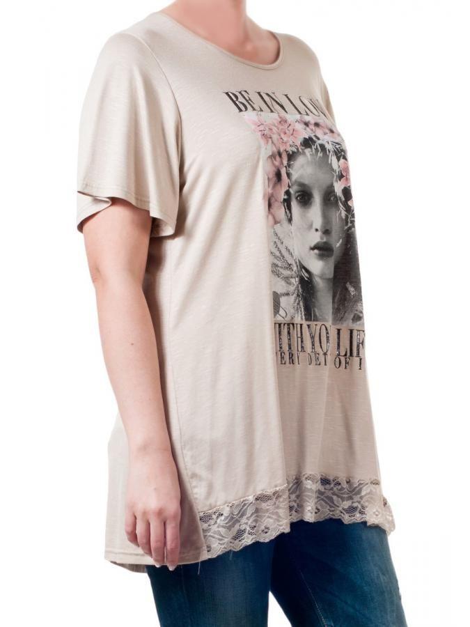 Κοντομάνικο μακρύ μπλουζάκι, δαντέλα