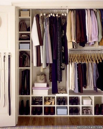 An organized clothes closet can simplify busy mornings and make every day just a little bit better. Two or even three short rods installed one above the other, rather than one high one, will maximize hanging space for short items like shirts, skirts, and folded trousers. Reserve another area for longer items such as coats and dresses.