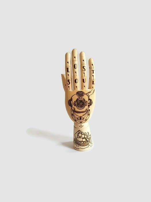 Mannequin Hand - Tattooed Hand, Nautical Themed, Ocean Diver, Kraken, Shipwreck, Woodburning, Wood Burned Art, Anchor, Nautical Tattoo