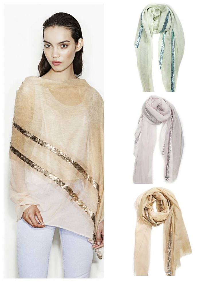 The Summer social season is upon us...weddings, garden parties...  Add an edge to your style with this Alexia sheer floaty scarf- a blend of silk and wool ... for that luxe twist to your occassional apparel.