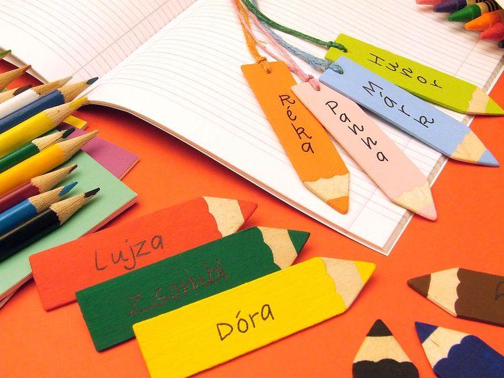 kreatív ötlet iskolakezdéshez ceruza alakú névkitűző