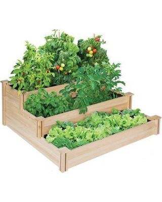 Greenes Fence Greenes Fence Landscaping Supplies. 4 ft. x 4 ft. x 21 in. Tiered Cedar Raised Garden Bed from Home Depot | BHG.com Shop