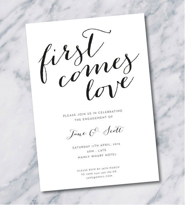 simple, elegant engagement party invitation in black and white @myweddingdotcom