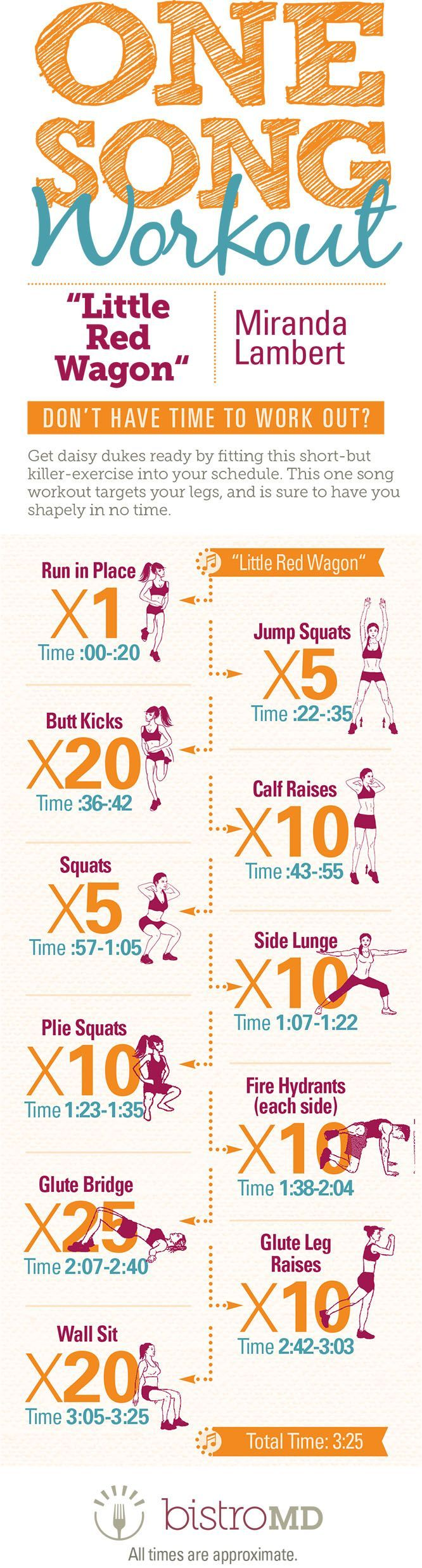 """Don't think you have time to workout? Think again! Get your daisy dukes ready for any occasion with this fun HIIT (high intensity interval training) leg workout to hit song, """"Little Red Wagon"""" by Miranda Lambert. In less than 4 minutes you'll have your leg workout for the day complete! http://www.bistromd.com/infographics/one-song-workout-little-red-wagon-by-miranda-lambert?pp=1 #Fitness #Workout Pin/Via -"""