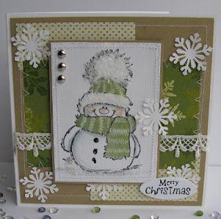 Cute snowman and snowflake Christmas card