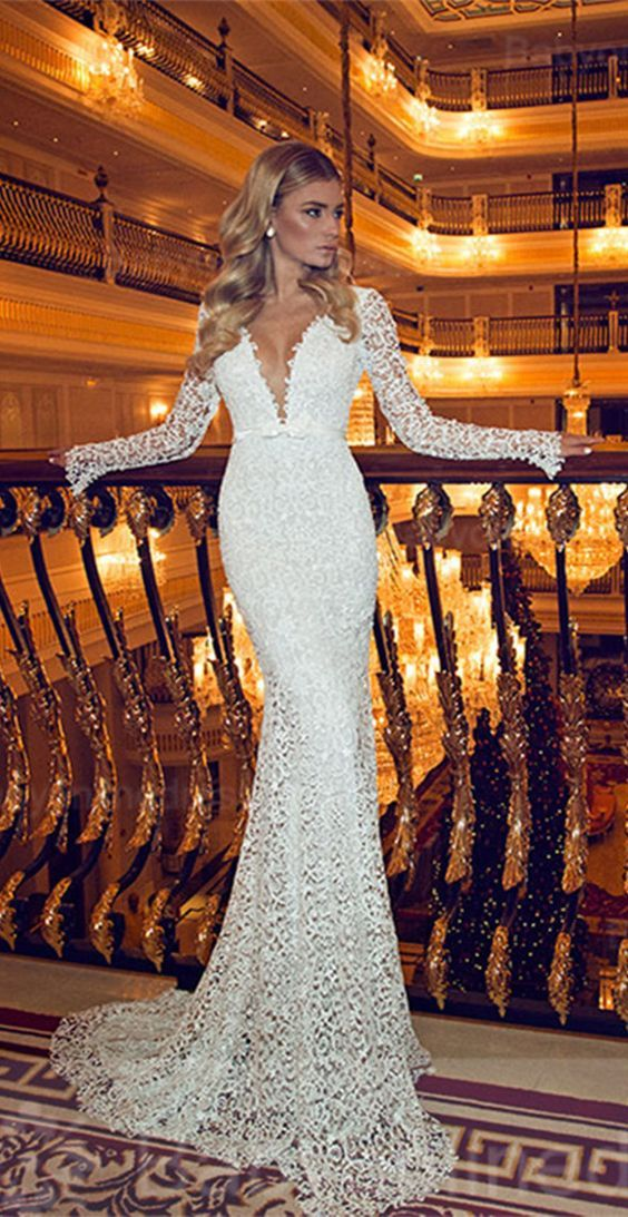 long sleeve full lace mermaid wedding dress / http://www.himisspuff.com/long-sleeve-wedding-dresses/4/
