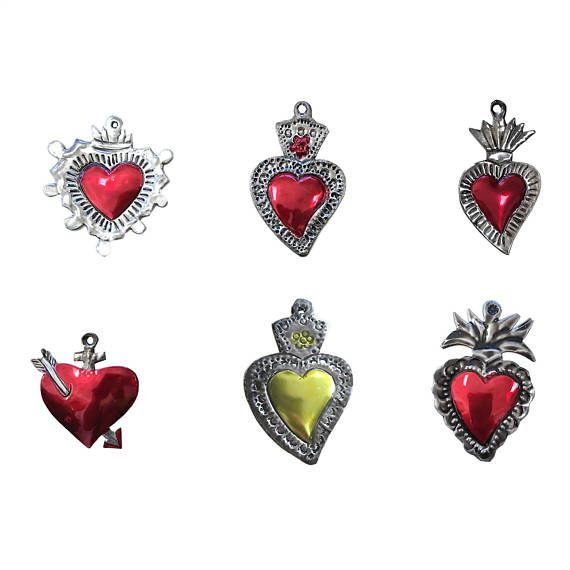 Milagros Charms  Tin Painted Sacred Heart Ornaments  Mexican