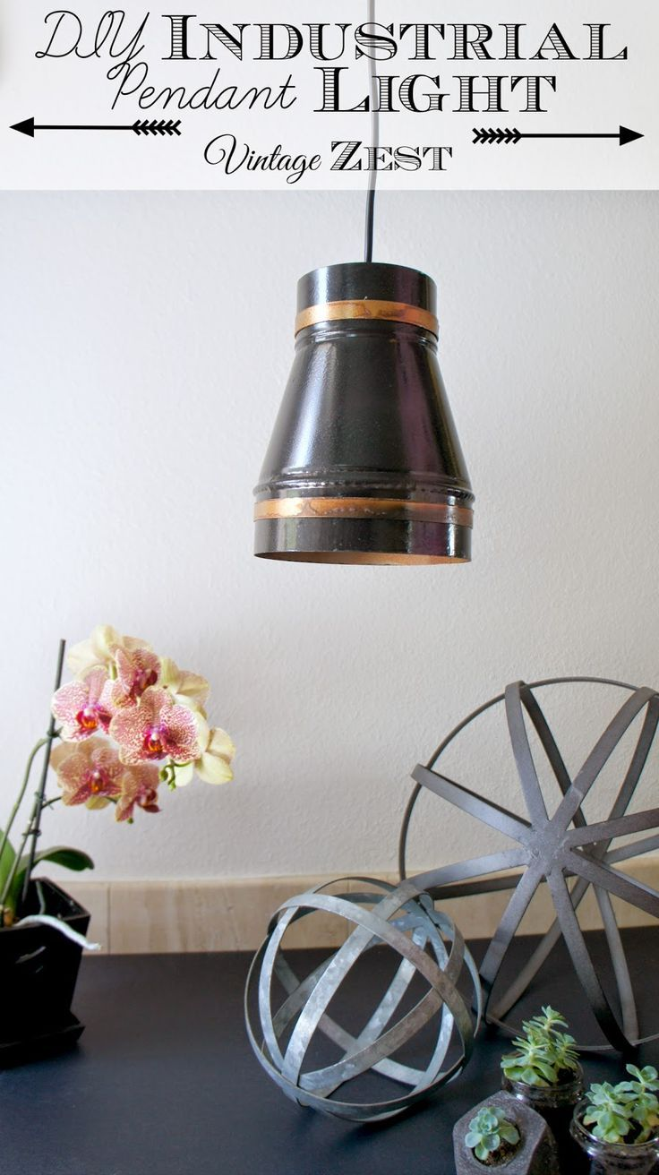 DIY Industrial Pendant Light with LED Power! on Diane's Vintage Zest!  #LEDSavings #